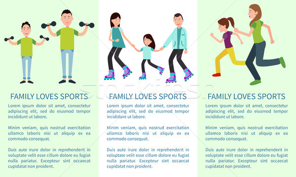 Family Loves to Learn and Sports Bright Banners Stock photo © robuart