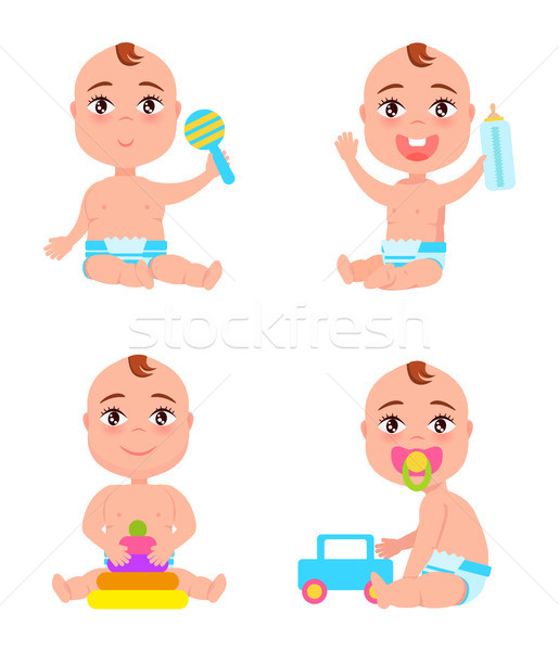 Set of Newborn Toddler Infants Playing with Rattle Stock photo © robuart