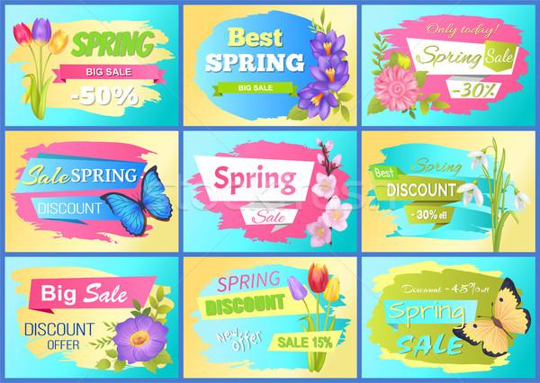 Zestaw wiosną reklama naklejki kolorowy Zdjęcia stock © robuart