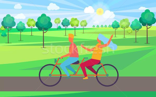 мальчика девушки верховая езда тандем велосипед иллюстрация Сток-фото © robuart