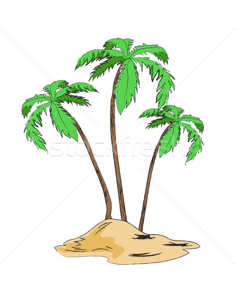 Palm Trees Set on Sandy Island Isolated on White Stock photo © robuart
