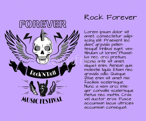 Rock rotolare per sempre festival di musica poster colorato Foto d'archivio © robuart