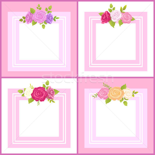 Four Frames with Decorative Flowers Color Banner Stock photo © robuart