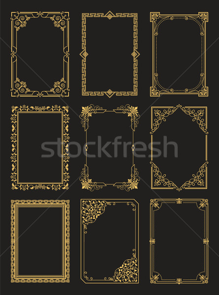 Vintage Frames Collection Golden Borders Isolated Stock photo © robuart