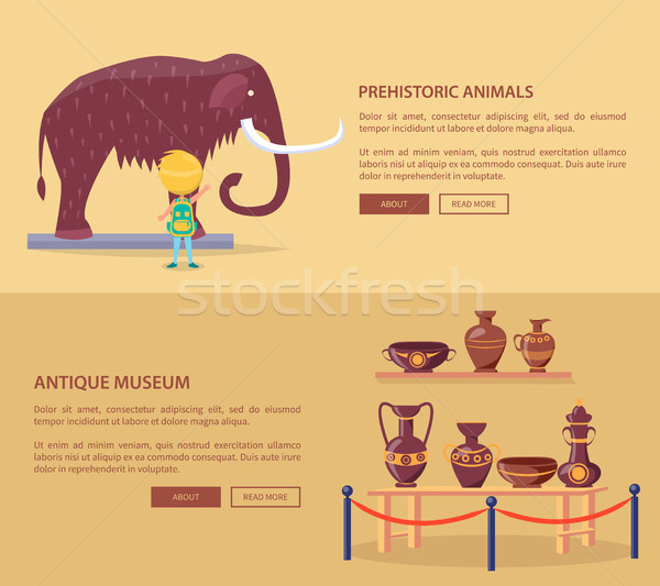 Exhibition of Prehistoric Animals and Greek Vases Stock photo © robuart