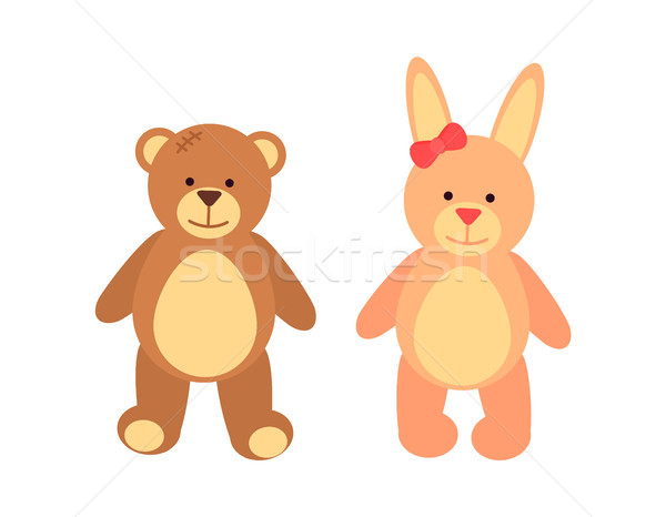 Toys Set Teddy Bear and Rabbit Vector Illustration Stock photo © robuart