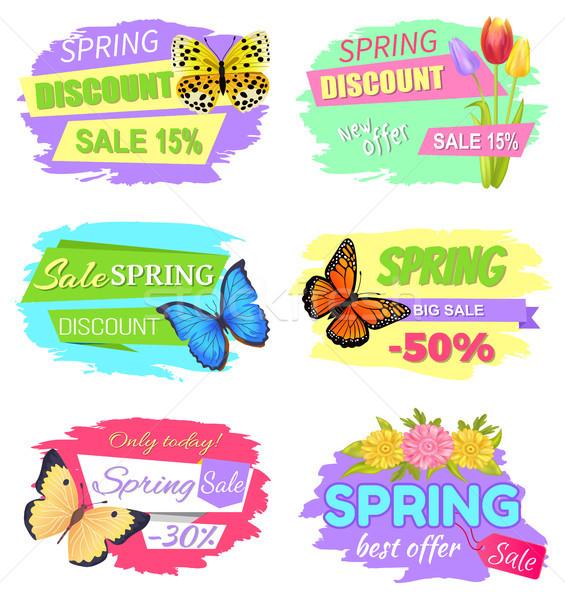 Voorjaar korting verkoop 15 nieuwe bieden Stockfoto © robuart