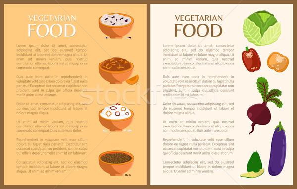 Vegetáriánus étel plakátok szett tányérok zöldségek szöveg Stock fotó © robuart