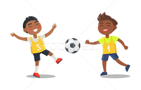 Indian Boys Playing Football in Sport Uniform Stock photo © robuart