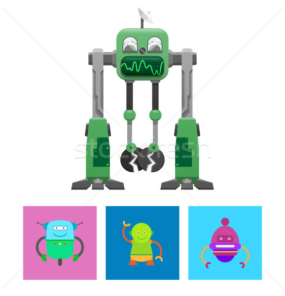 Robots Collection with Faces Vector Illustration Stock photo © robuart