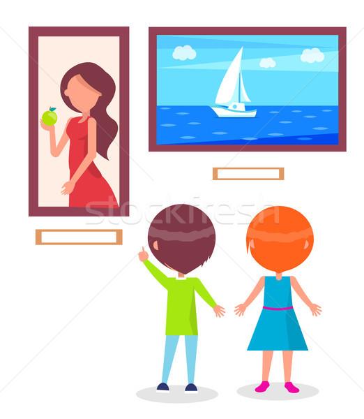 Kunstgalerie vector kinderen kijken Stockfoto © robuart