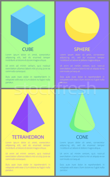 Cube Cone Sphere and Tetrahedron Prisms Collection Stock photo © robuart