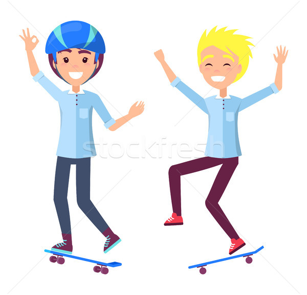 Boys on Skateboards Have Fun and Perform Tricks Stock photo © robuart