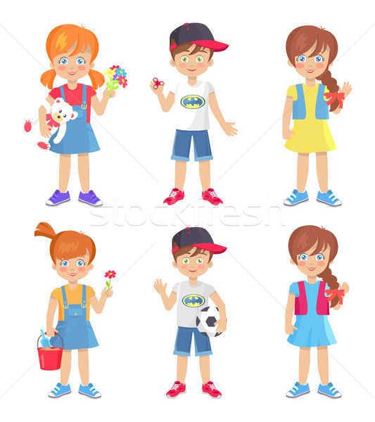Children Holding Colorful Toys Isolated on White Stock photo © robuart