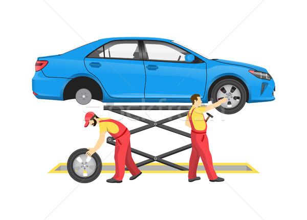 自動車修理 プロセス カラフル 車両 リフト 力学 ストックフォト © robuart
