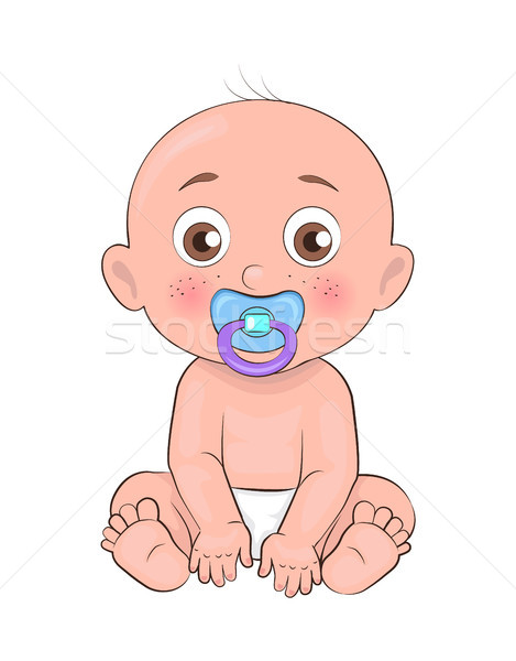 Newborn Boy Toddler Pacifier in Mouth and Diapers Stock photo © robuart
