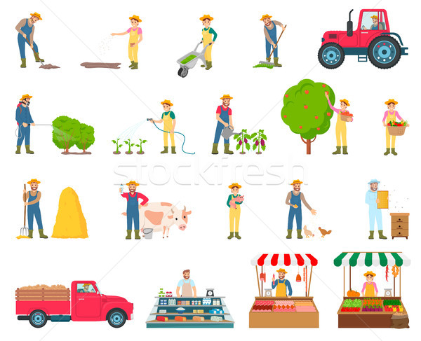 Farmer Activity Collection Vector Illustration Stock photo © robuart