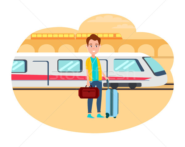 Man with Baggage Wait for Train at Railway Station Stock photo © robuart