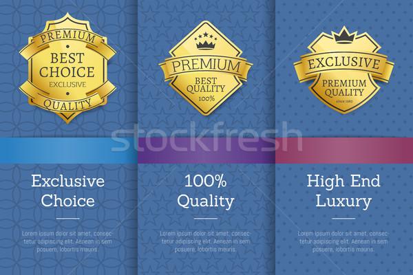 Or étiquettes couronne garantir meilleur qualité Photo stock © robuart