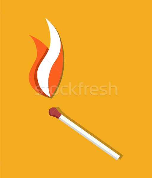 Flaming Match Icon Abstract Vector Illustration Stock photo © robuart