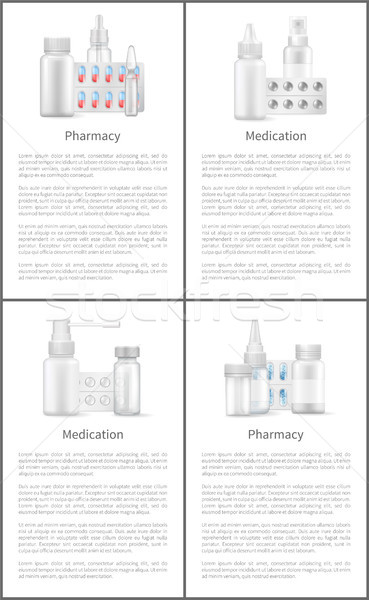 Pharmacy and Medication Posters with Containers Stock photo © robuart