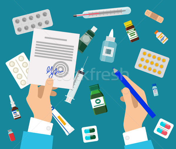 Doctor s Hands and Medicines Set Colorful Poster Stock photo © robuart
