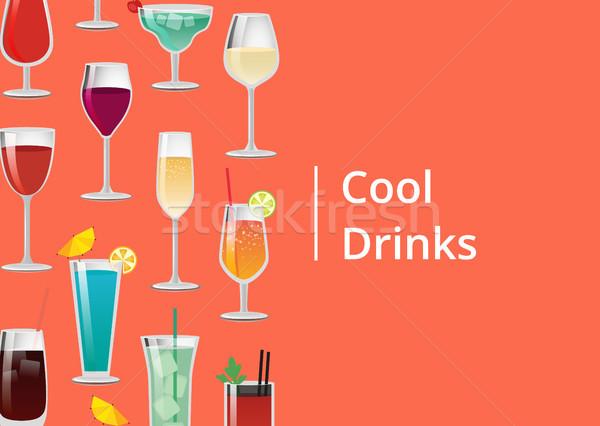 Cool napojów zestaw tropikalnych koktajle sok pomarańczowy Zdjęcia stock © robuart