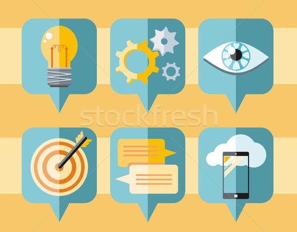 Speech bubble icon set of business elements Stock photo © robuart