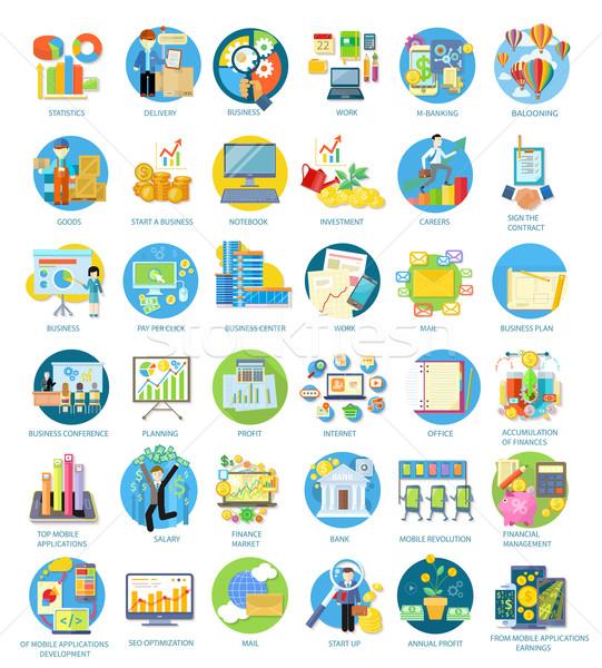 Ingesteld iconen verschillend business plan Stockfoto © robuart