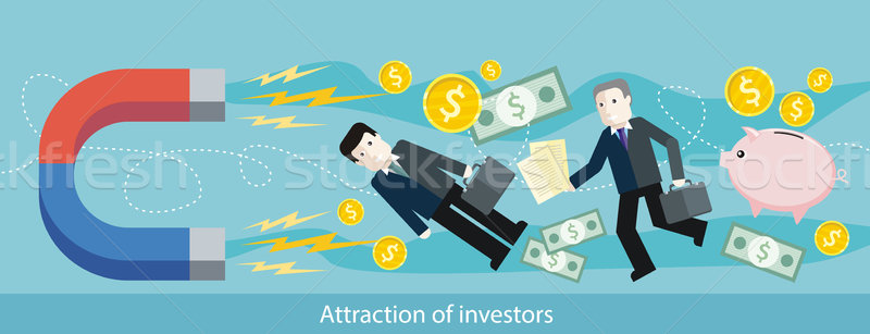Attraction of Investors. Detailed Flat Web Banner Stock photo © robuart