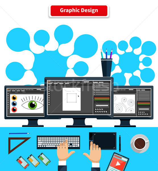 Workspace Graphic Design Monitor Tablet Keyboard Stock photo © robuart