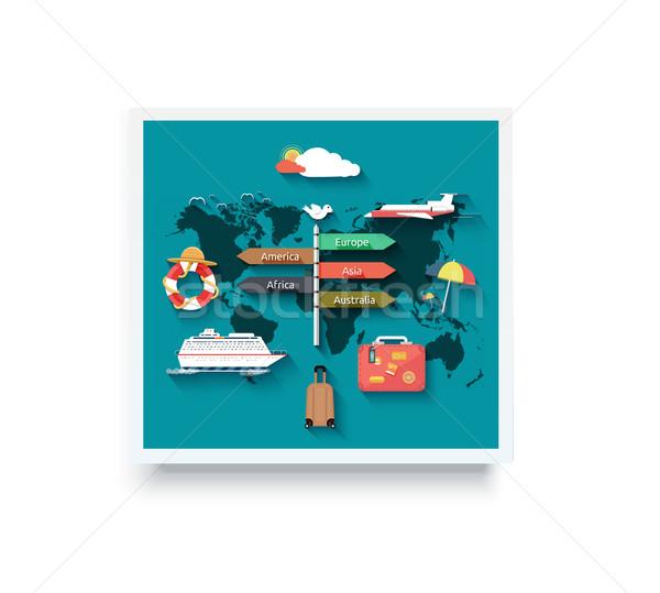 Utazás körül világ repülőgép tengerjáró hajó világtérkép Stock fotó © robuart