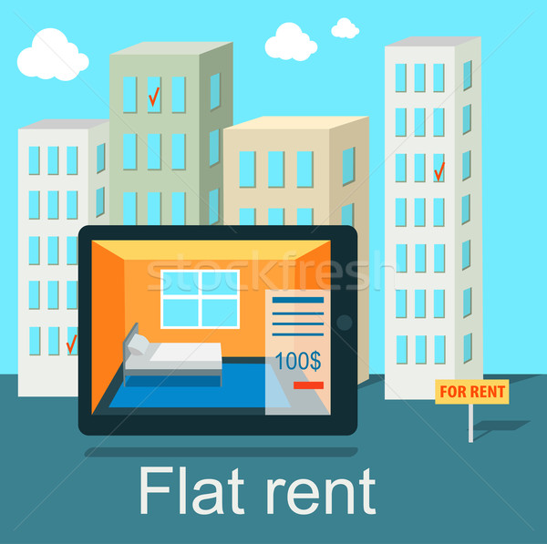 Stock photo: Flat Rent Price Design Concept