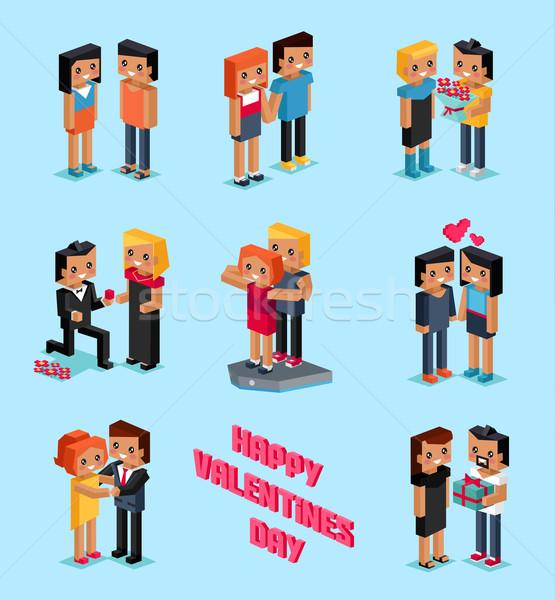 Isometric 3d Family Love Hearts. Valentine Day Stock photo © robuart