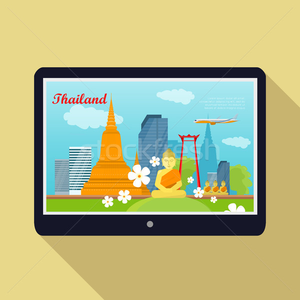 Thailand Travelling banner. Thai Landmarks. Tablet Stock photo © robuart