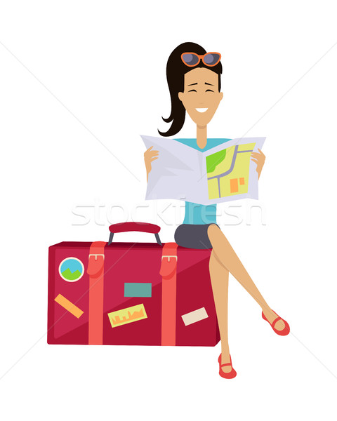 Woman Seating on Suitcase Stock photo © robuart