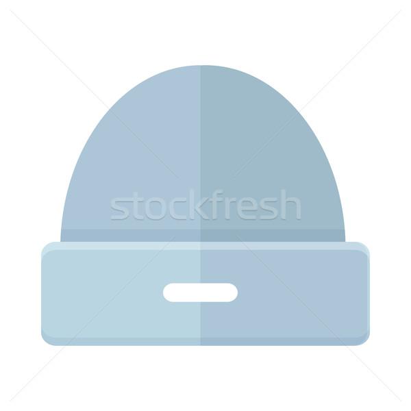 Wollen winter hoed icon eenvoudige stijl Stockfoto © robuart