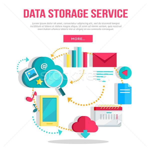 Armazenamento de dados serviço bandeira networking comunicação dados Foto stock © robuart