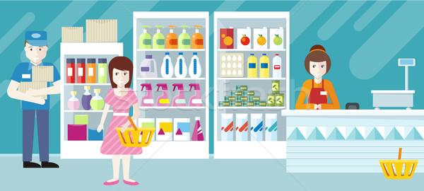 menschen supermarkt innenarchitektur sicherheit laden assistent vektor grafiken. Black Bedroom Furniture Sets. Home Design Ideas