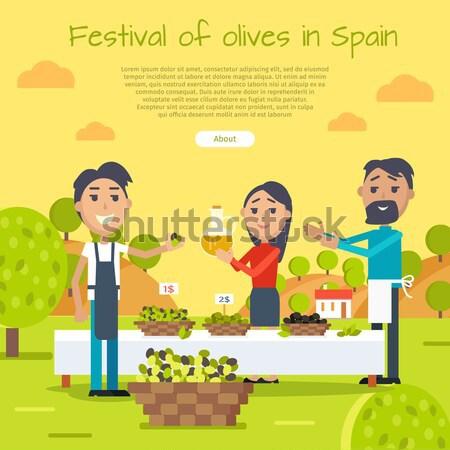 Festiwalu banner internetowych szczęśliwych ludzi smaczny Zdjęcia stock © robuart
