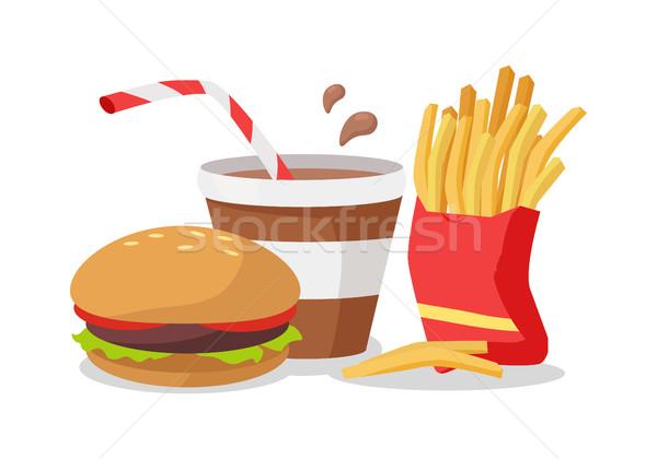 Hamburger sültkrumpli piros táska üdítő kóla Stock fotó © robuart