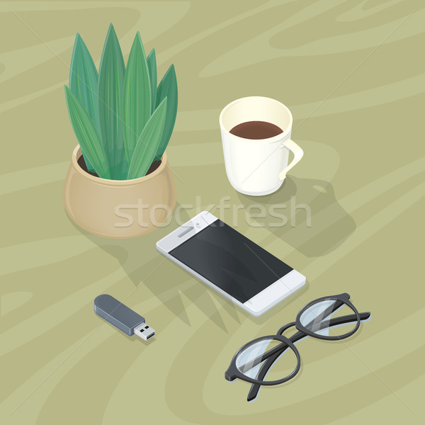 Desk with Mobile Phone, Glasses, Plant Flash Drive Stock photo © robuart