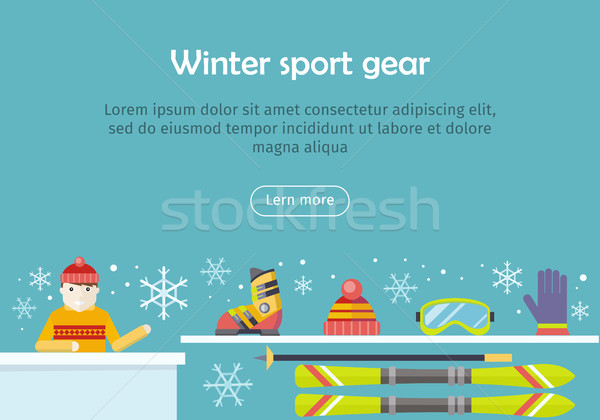 Winter Sport Gear Vector Flat Design Web Banner Stock photo © robuart