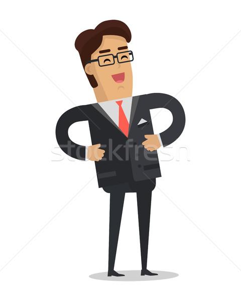 Stockfoto: Lachend · zakenman · vector · ontwerp · vrolijk · man
