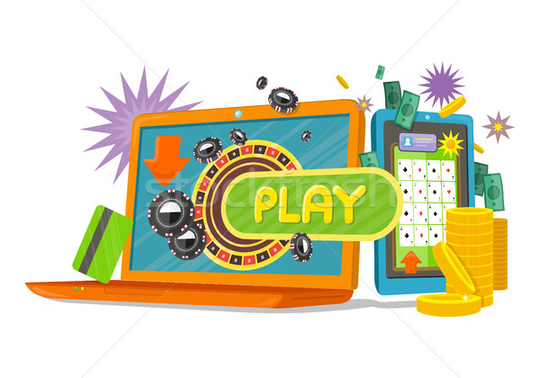 Online Games Banner with Laptop and Mobile Phone. Stock photo © robuart