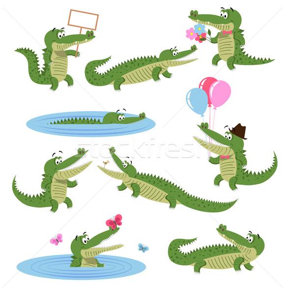 Crocodile Daily Activities Set. Cartoon Predator Stock photo © robuart