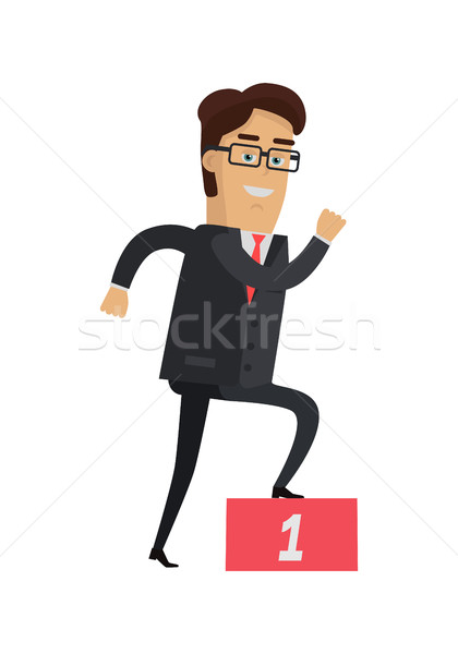 Stock photo: Businessman Going up on the Winners Podium.