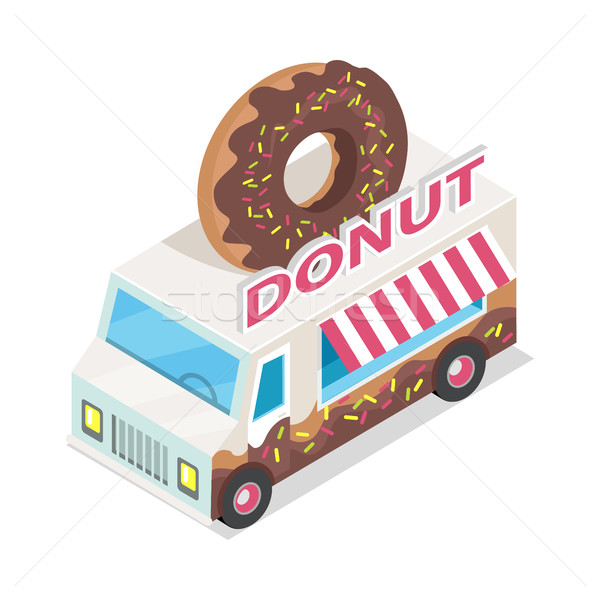 Donut Trolley in Isometric Projection. Doughnut Stock photo © robuart