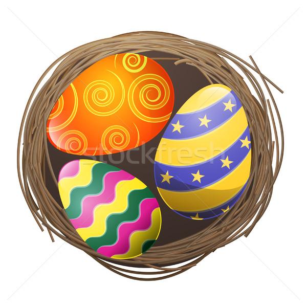 色の卵 鳥の巣 孤立した 実例 波状の ストックフォト © robuart