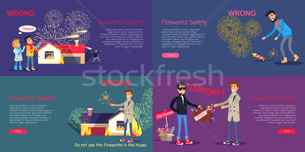 Fireworks Safety. Poster of Wrong Act and Danger Stock photo © robuart